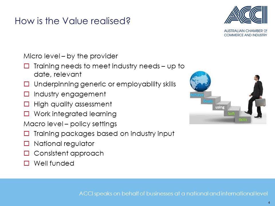 ACCI speaks on behalf of businesses at a national and international level How is the Value realised.