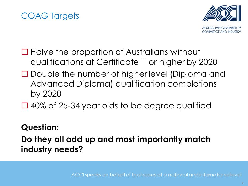 ACCI speaks on behalf of businesses at a national and international level COAG Targets  Halve the proportion of Australians without qualifications at Certificate III or higher by 2020  Double the number of higher level (Diploma and Advanced Diploma) qualification completions by 2020  40% of 25-34 year olds to be degree qualified Question: Do they all add up and most importantly match industry needs.