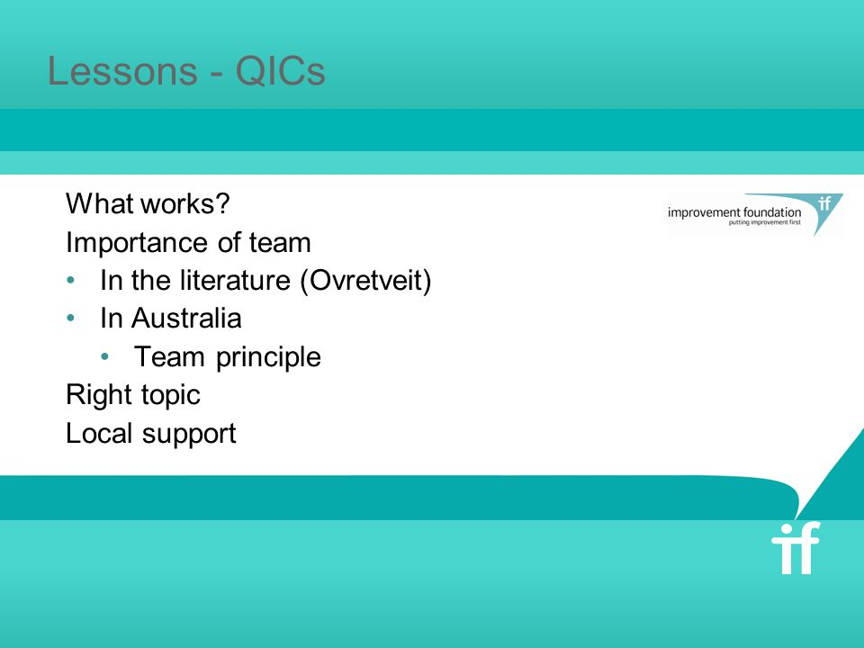 Lessons - QICs What works? Importance of team In the literature (Ovretveit) In Australia Team principle Right topic Local support