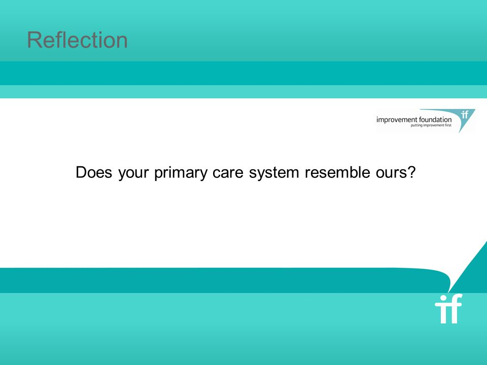 Reflection Does your primary care system resemble ours