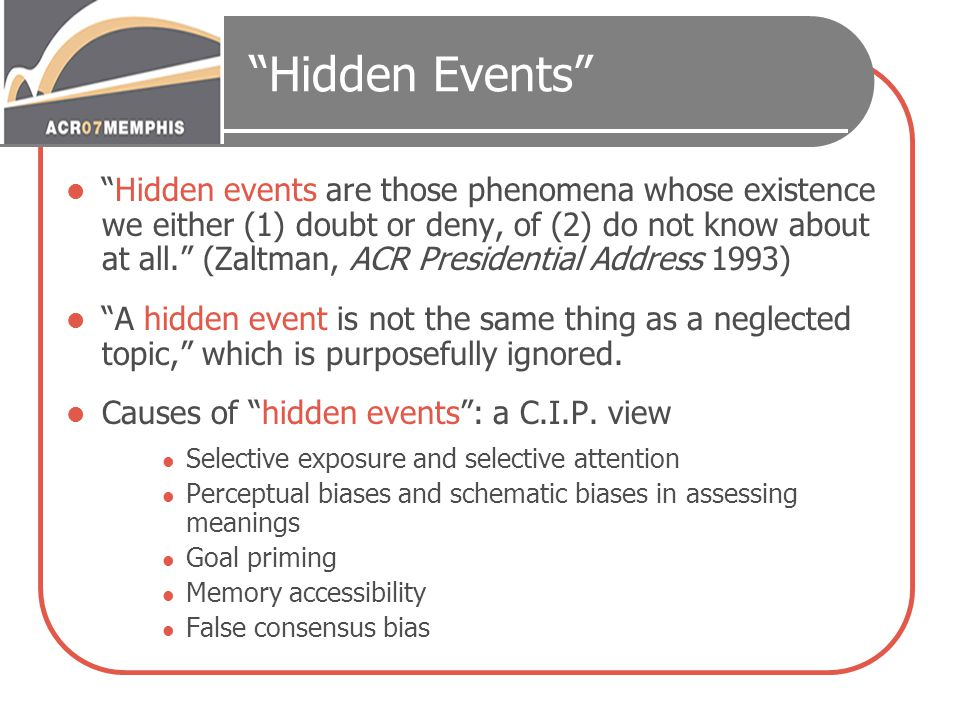 """""""Hidden Events"""" """"Hidden events are those phenomena whose existence we either (1) doubt or deny, of (2) do not know about at all."""" (Zaltman, ACR Presid"""
