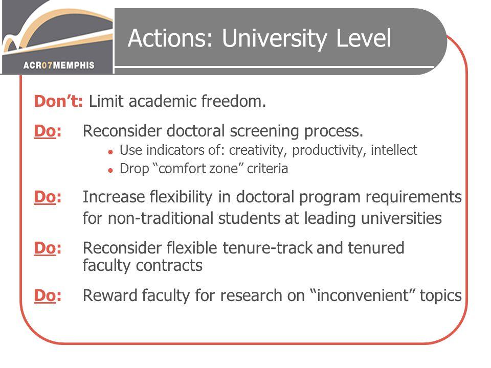 Actions: University Level Don't: Limit academic freedom.