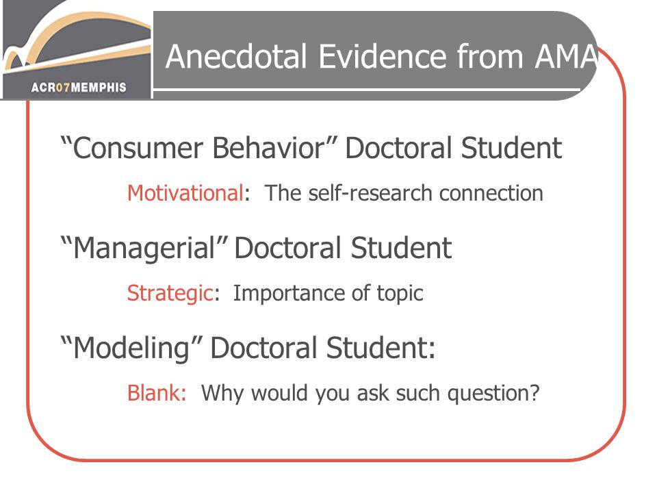 Anecdotal Evidence from AMA Consumer Behavior Doctoral Student Motivational: The self-research connection Managerial Doctoral Student Strategic: Importance of topic Modeling Doctoral Student: Blank: Why would you ask such question