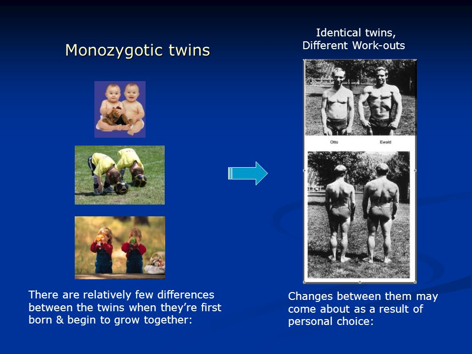 Monozygotic twins There are relatively few differences between the twins when they're first born & begin to grow together: Changes between them may co