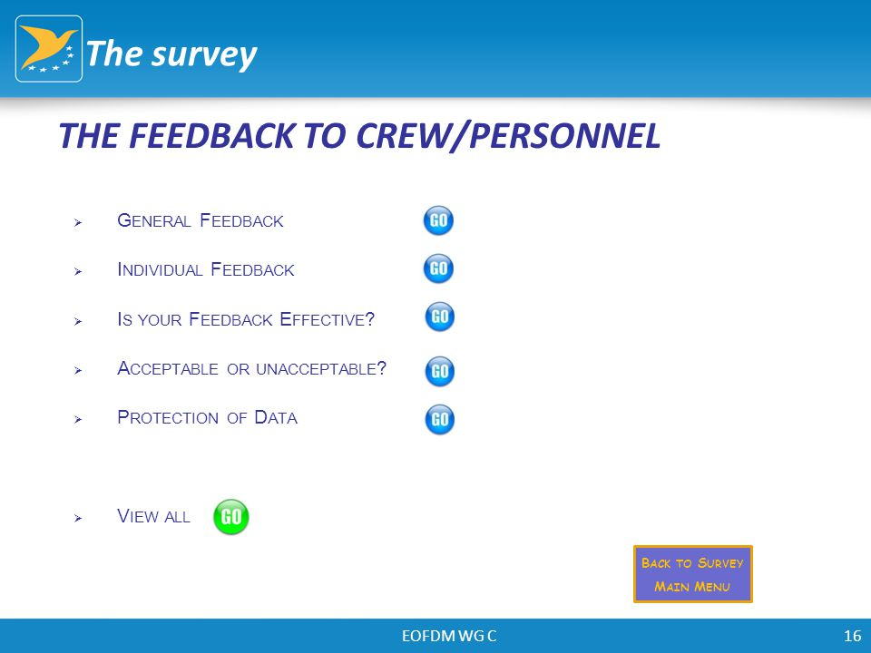 EOFDM WG C16 THE FEEDBACK TO CREW/PERSONNEL The survey  G ENERAL F EEDBACK  I NDIVIDUAL F EEDBACK  I S YOUR F EEDBACK E FFECTIVE ?  A CCEPTABLE OR
