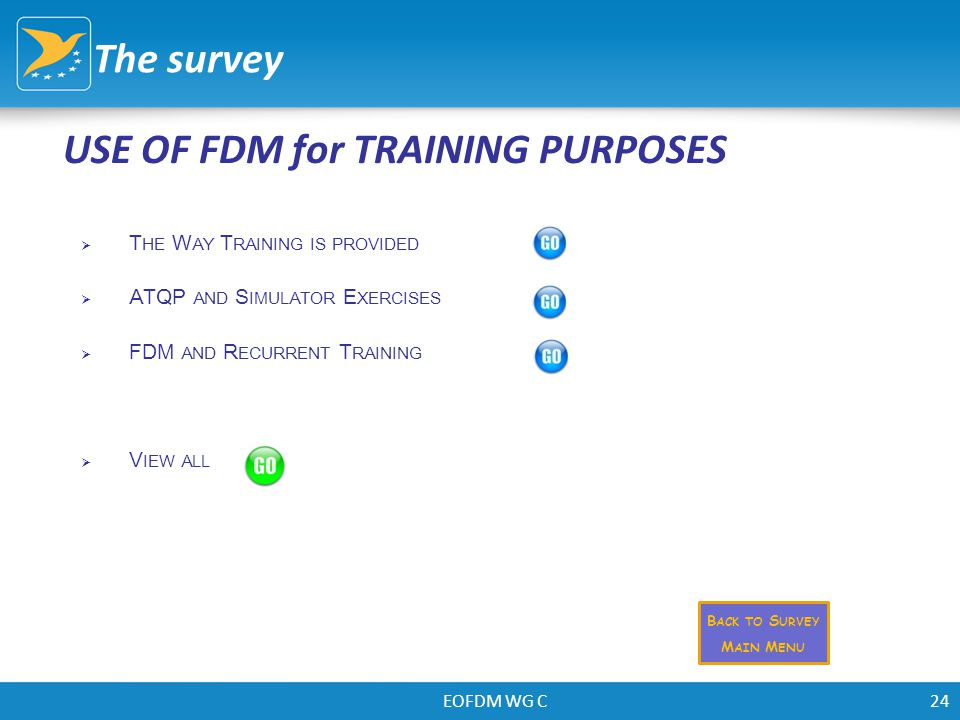 EOFDM WG C24 USE OF FDM for TRAINING PURPOSES The survey  T HE W AY T RAINING IS PROVIDED  ATQP AND S IMULATOR E XERCISES  FDM AND R ECURRENT T RAI
