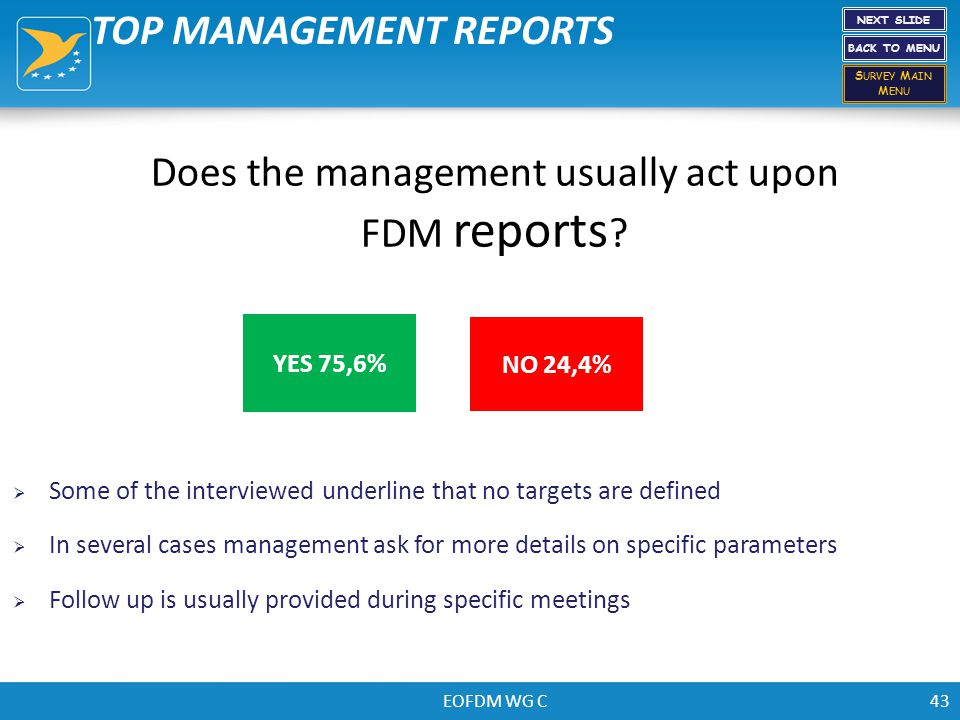 EOFDM WG C43 Does the management usually act upon FDM reports ? NO 24,4% YES 75,6% TOP MANAGEMENT REPORTS NEXT SLIDE BACK TO MENU S URVEY M AIN M ENU