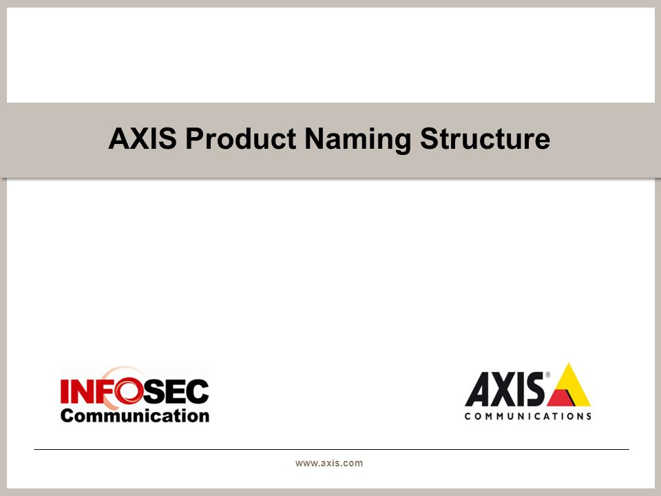 www.axis.com AXIS Product Naming Structure