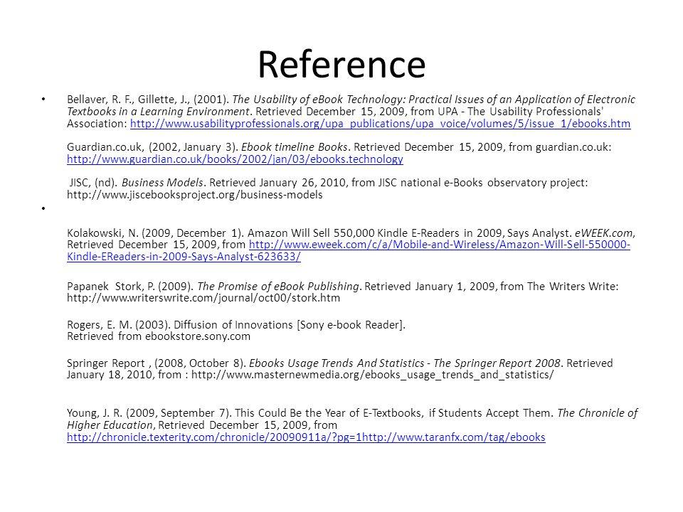 Reference Bellaver, R. F., Gillette, J., (2001).