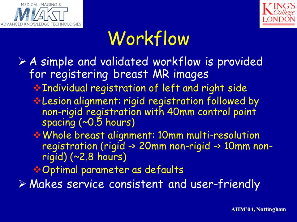 AHM'04, Nottingham Classification of MR Breast Lesions Features  Shape  Margins  Enhancement Pattern  Contrast-change Characteristics prepost-pre malignant Time Intensity benign suspicious Time