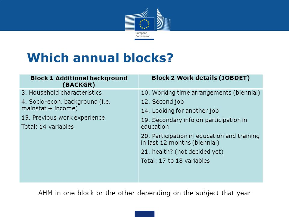 Which annual blocks? Block 1 Additional background (BACKGR) Block 2 Work details (JOBDET) 3. Household characteristics 4. Socio-econ. background (i.e.
