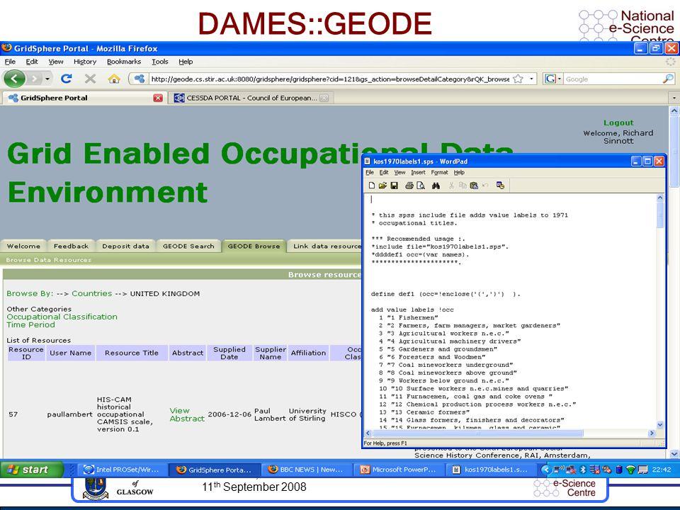 AHM 2008, 11 th September 2008 DAMES::GEODE
