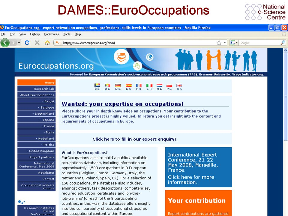 AHM 2008, 11 th September 2008 DAMES::EuroOccupations