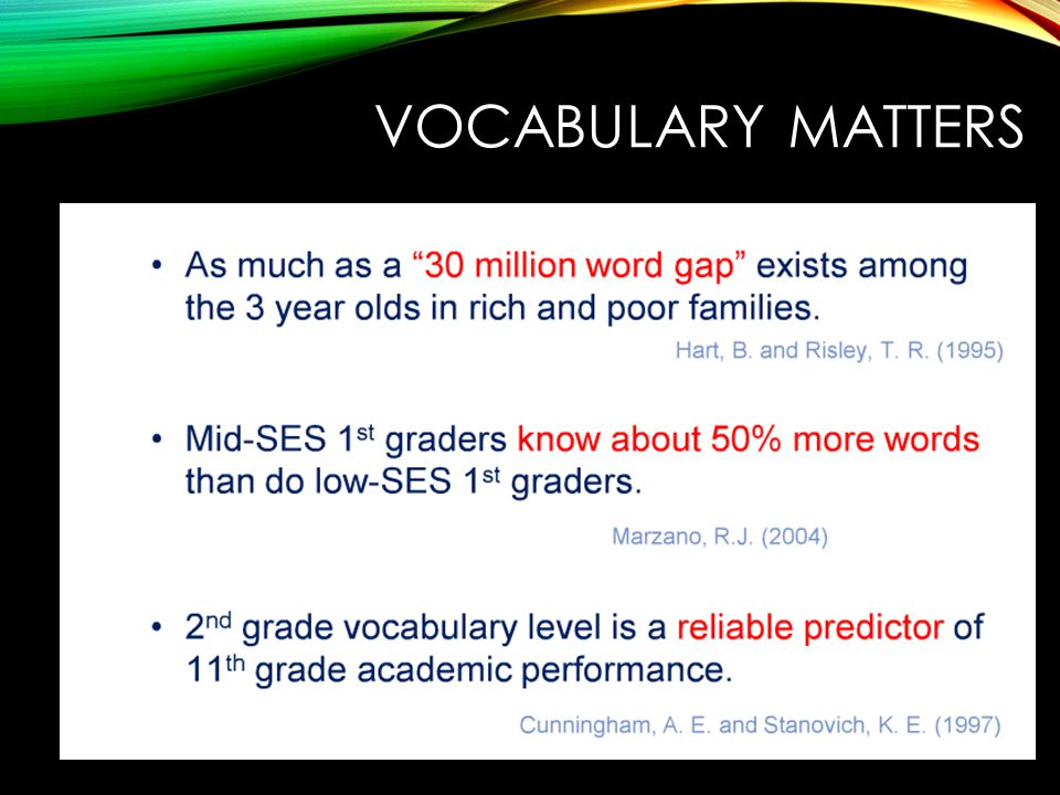 VOCABULARY MATTERS