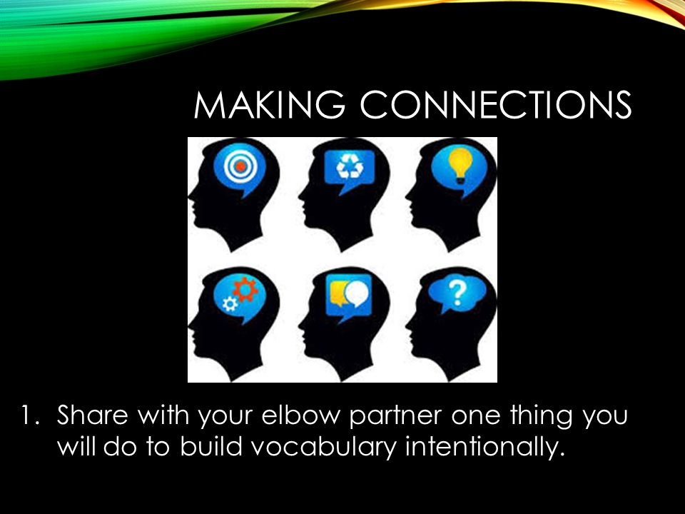 MAKING CONNECTIONS 1.Share with your elbow partner one thing you will do to build vocabulary intentionally.