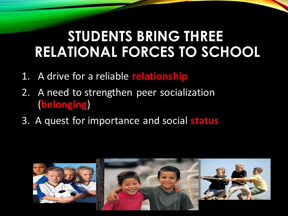 STUDENTS BRING THREE RELATIONAL FORCES TO SCHOOL 1.A drive for a reliable relationship 2.A need to strengthen peer socialization (belonging) 3.