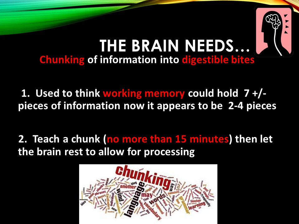 THE BRAIN NEEDS… Chunking of information into digestible bites 1.