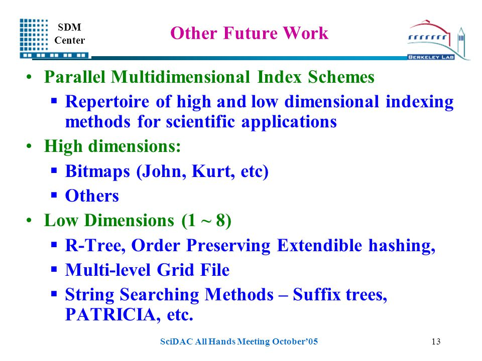 SDM Center SciDAC All Hands Meeting October'0513 Other Future Work Parallel Multidimensional Index Schemes  Repertoire of high and low dimensional indexing methods for scientific applications High dimensions:  Bitmaps (John, Kurt, etc)  Others Low Dimensions (1 ~ 8)  R-Tree, Order Preserving Extendible hashing,  Multi-level Grid File  String Searching Methods – Suffix trees, PATRICIA, etc.