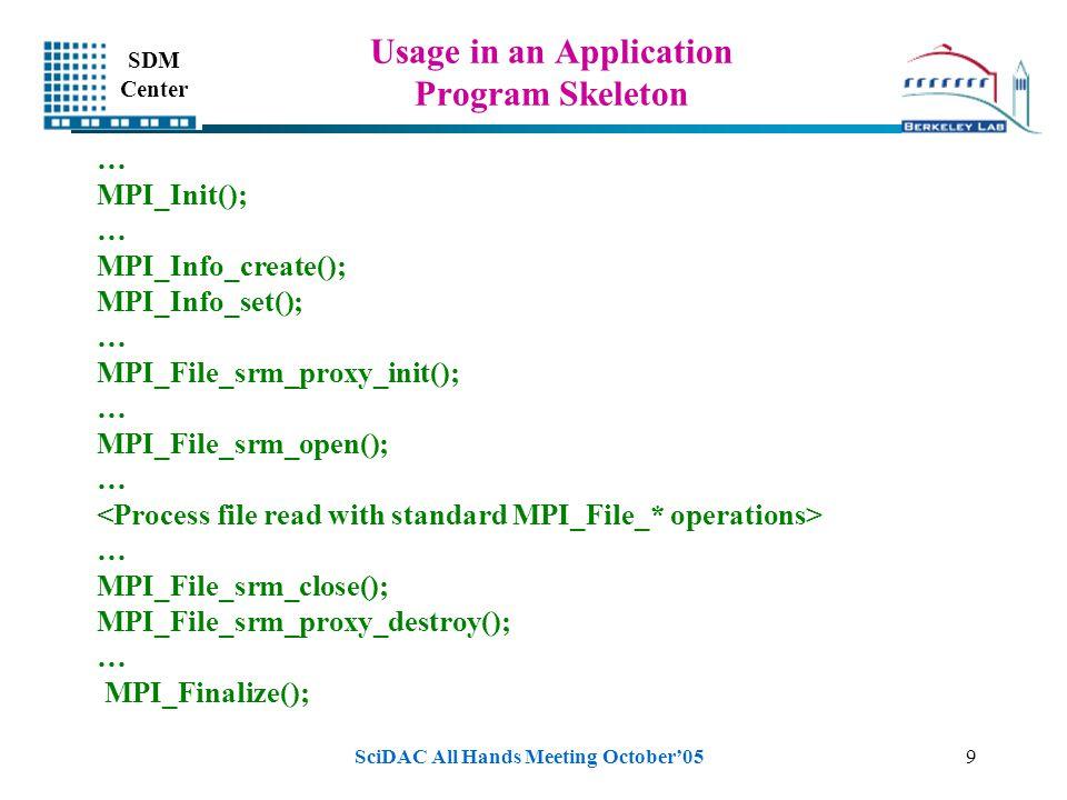 SDM Center SciDAC All Hands Meeting October'059 Usage in an Application Program Skeleton … MPI_Init(); … MPI_Info_create(); MPI_Info_set(); … MPI_File_srm_proxy_init(); … MPI_File_srm_open(); … … MPI_File_srm_close(); MPI_File_srm_proxy_destroy(); … MPI_Finalize();