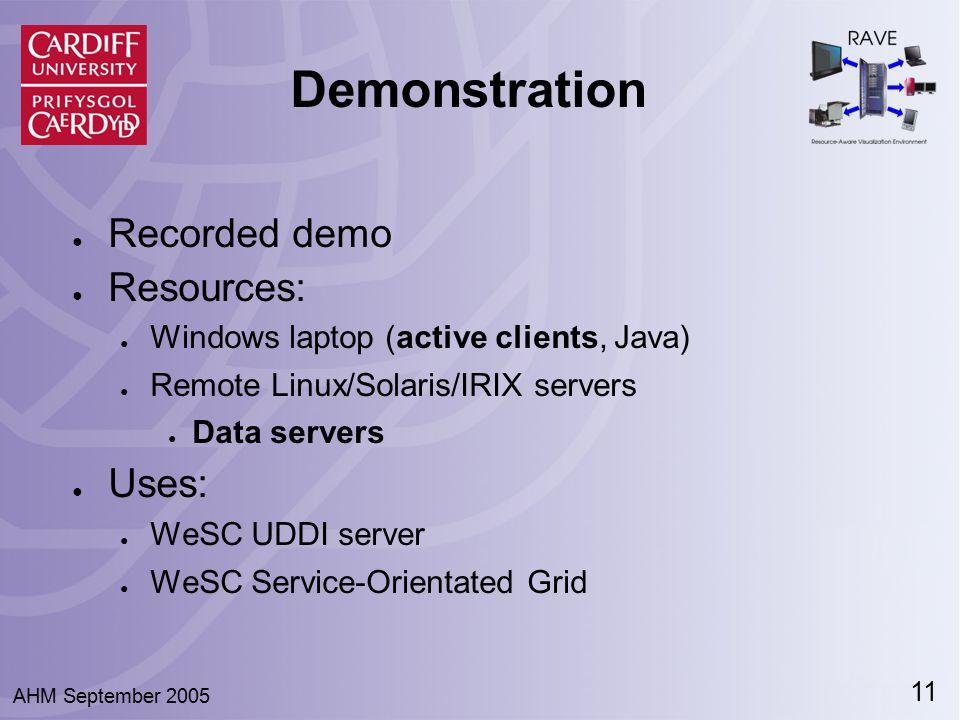 11 AHM September 2005 Demonstration ● Recorded demo ● Resources: ● Windows laptop (active clients, Java) ● Remote Linux/Solaris/IRIX servers ● Data servers ● Uses: ● WeSC UDDI server ● WeSC Service-Orientated Grid