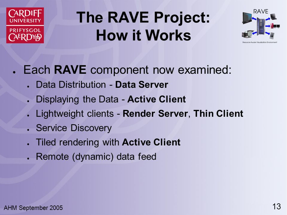 13 AHM September 2005 The RAVE Project: How it Works ● Each RAVE component now examined: ● Data Distribution - Data Server ● Displaying the Data - Act