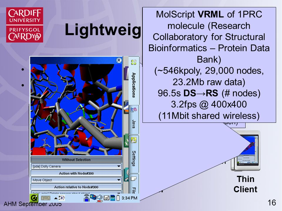 16 AHM September 2005 ● Third component: the Render Server ● Drawn visual sent to Thin RAVE Clients ● Thin -insufficient power/resources to draw data Interaction Visual Lightweight Clients Data Server Thin Client Visualization Data Render Server Visual drawn off-screen (hidden) Isosurface of MRI scan Large Geometric Models Archive (~850kpoly, 3 nodes, 3.2fps @ 400x400 11Mbit wireless) MolScript VRML of 1PRC molecule (Research Collaboratory for Structural Bioinformatics – Protein Data Bank) (~546kpoly, 29,000 nodes, 23.2Mb raw data) 96.5s DS → RS (# nodes) 3.2fps @ 400x400 (11Mbit shared wireless)