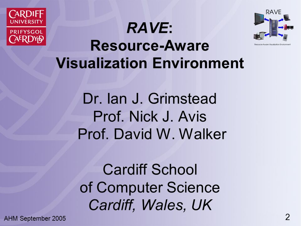 3 AHM September 2005 Presentation Structure ● Data Visualization: Pros and Cons ● A Solution: The RAVE project ● Demonstration of RAVE ● How RAVE works ● Latest results ● Conclusion