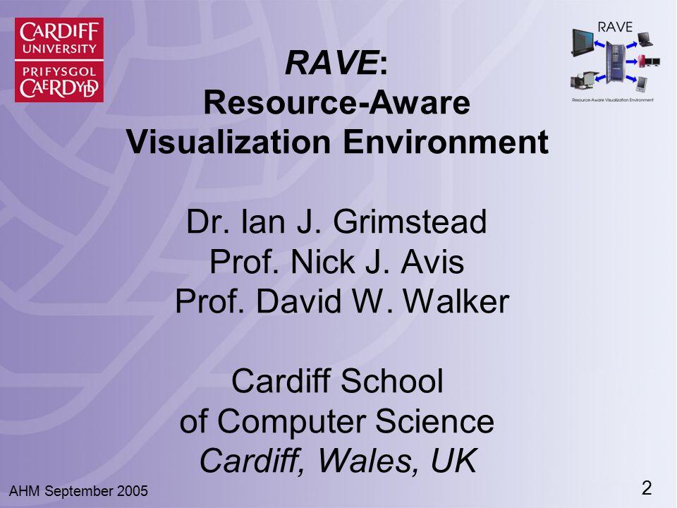 2 RAVE: Resource-Aware Visualization Environment Dr. Ian J. Grimstead Prof. Nick J. Avis Prof. David W. Walker Cardiff School of Computer Science Card