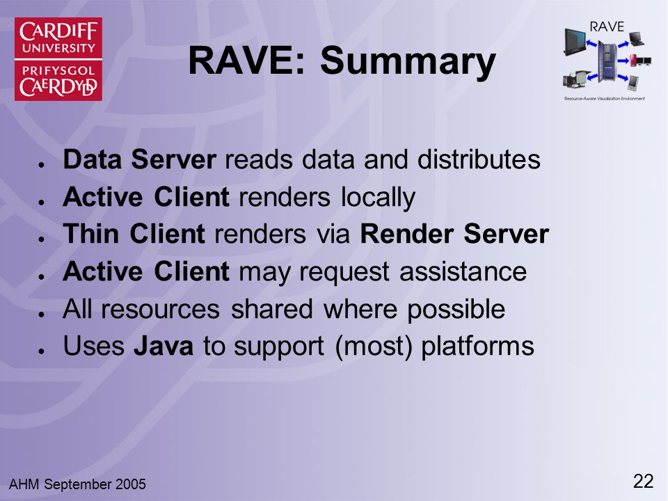 22 AHM September 2005 RAVE: Summary ● Data Server reads data and distributes ● Active Client renders locally ● Thin Client renders via Render Server ●