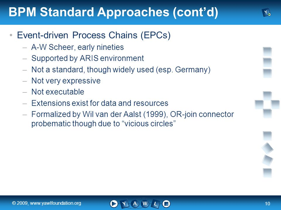 a university for the world real R 10 © 2009, www.yawlfoundation.org BPM Standard Approaches (cont'd) Event-driven Process Chains (EPCs) –A-W Scheer, e