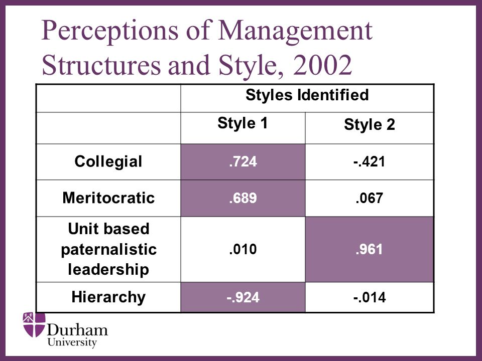 ∂ Perceptions of Management Structures and Style, 2002 Styles Identified Style 1 Style 2 Collegial.724-.421 Meritocratic.689.067 Unit based paternalistic leadership.010.961 Hierarchy -.924-.014