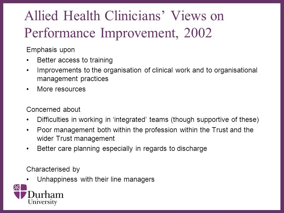 ∂ Allied Health Clinicians' Views on Performance Improvement, 2002 Emphasis upon Better access to training Improvements to the organisation of clinical work and to organisational management practices More resources Concerned about Difficulties in working in 'integrated' teams (though supportive of these) Poor management both within the profession within the Trust and the wider Trust management Better care planning especially in regards to discharge Characterised by Unhappiness with their line managers