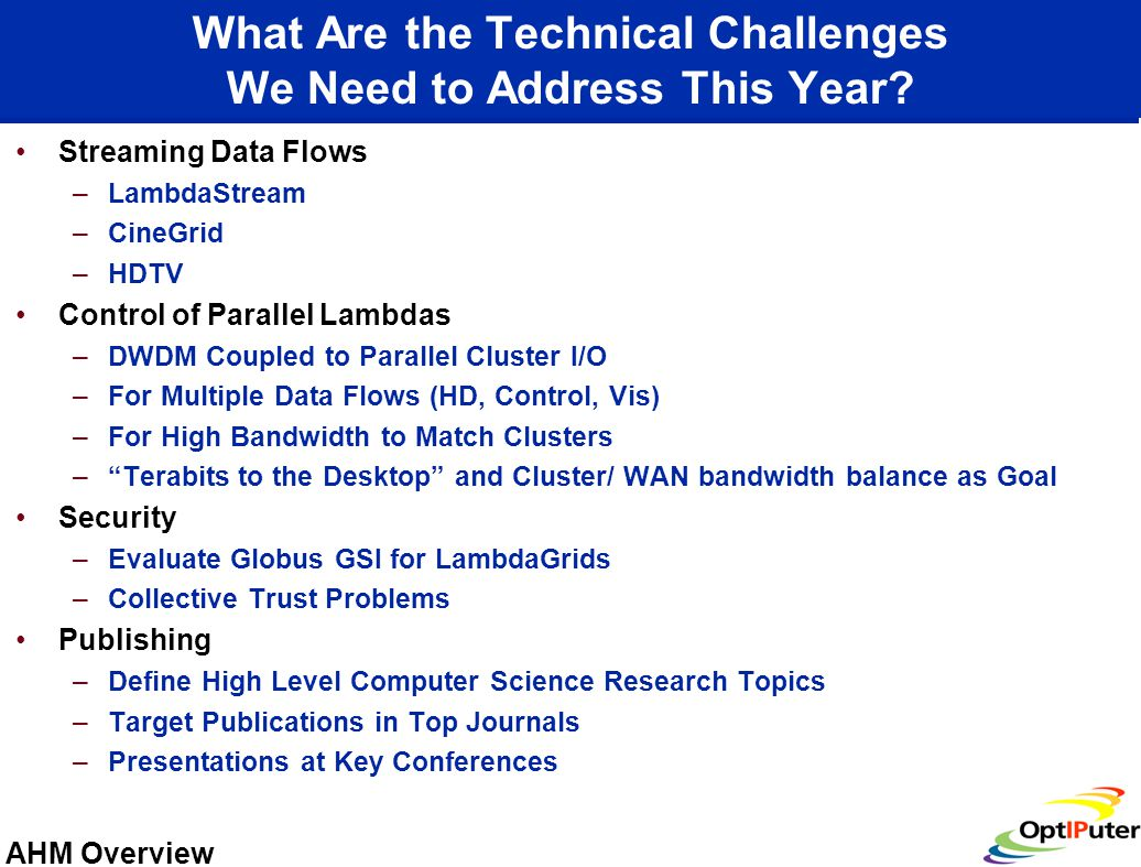 AHM Overview What Are the Technical Challenges We Need to Address This Year.