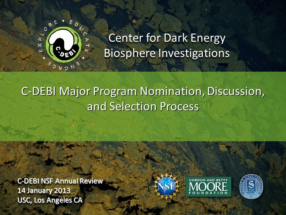 Center for Dark Energy Biosphere Investigations C-DEBI Major Program Nomination, Discussion, and Selection Process C-DEBI NSF Annual Review 14 January