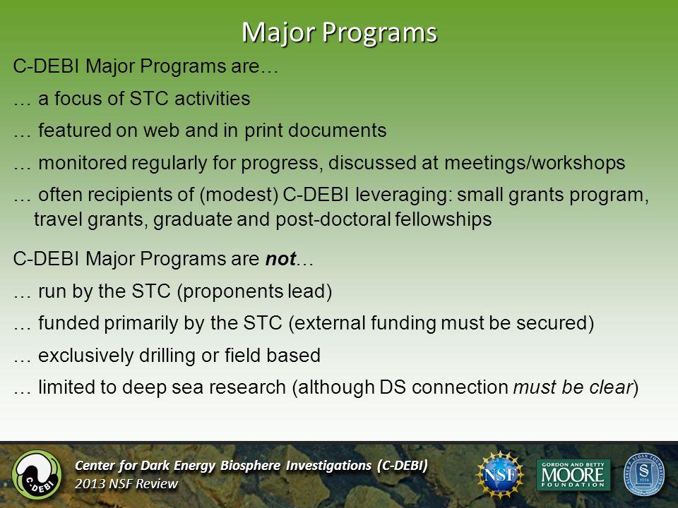 Major Programs Center for Dark Energy Biosphere Investigations (C-DEBI) 2013 NSF Review Center for Dark Energy Biosphere Investigations (C-DEBI) 2013