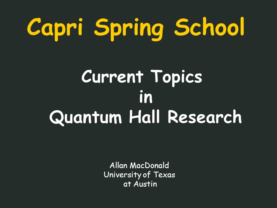 II – Quantum Hall Edge State References Review: A.M.