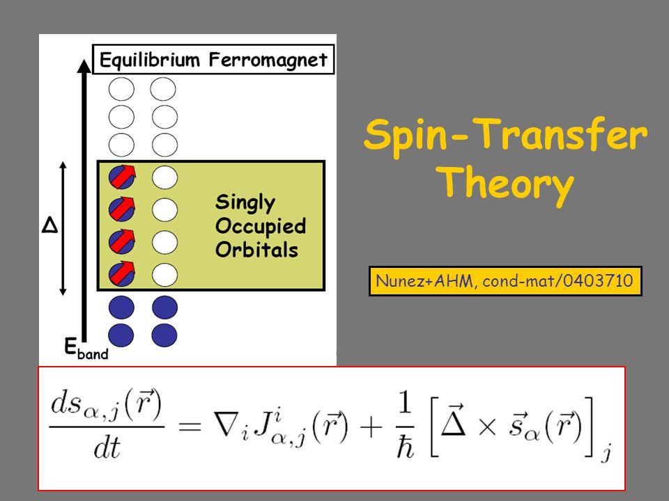 Nunez+AHM, cond-mat/0403710 Spin-Transfer Theory