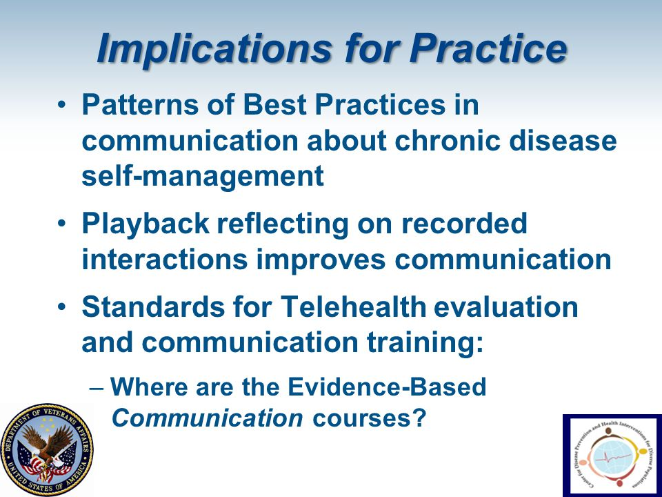 Implications for Practice Patterns of Best Practices in communication about chronic disease self-management Playback reflecting on recorded interactio