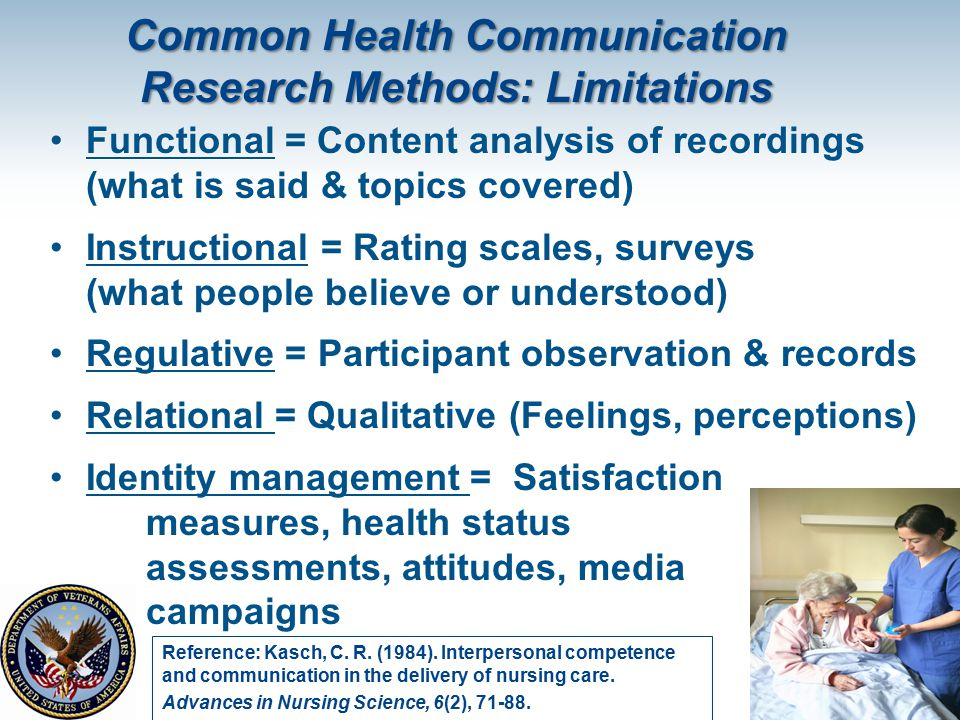 Common Health Communication Research Methods: Limitations Functional = Content analysis of recordings (what is said & topics covered) Instructional =
