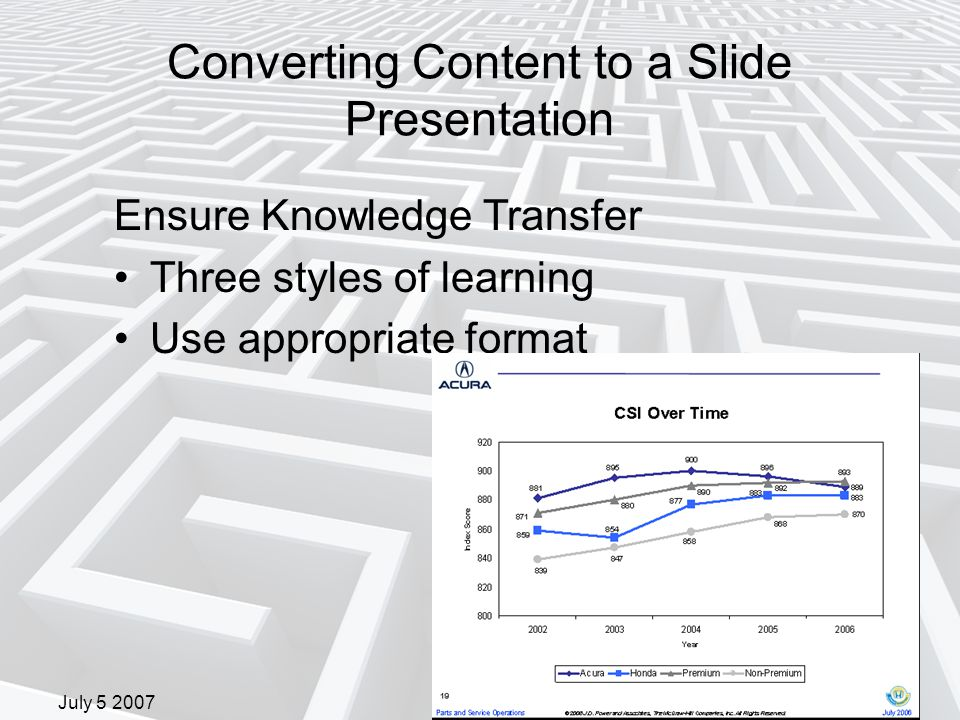 July 5 2007 Converting Content to a Slide Presentation Ensure Knowledge Transfer Three styles of learning Use appropriate format