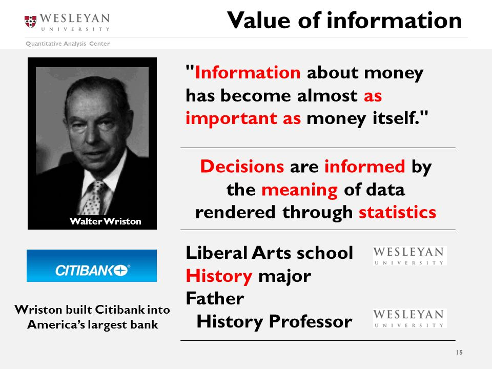Quantitative Analysis Center Liberal Arts school History major Father History Professor Value of information 15 Information about money has become almost as important as money itself. Wriston built Citibank into America's largest bank Walter Wriston Decisions are informed by the meaning of data rendered through statistics