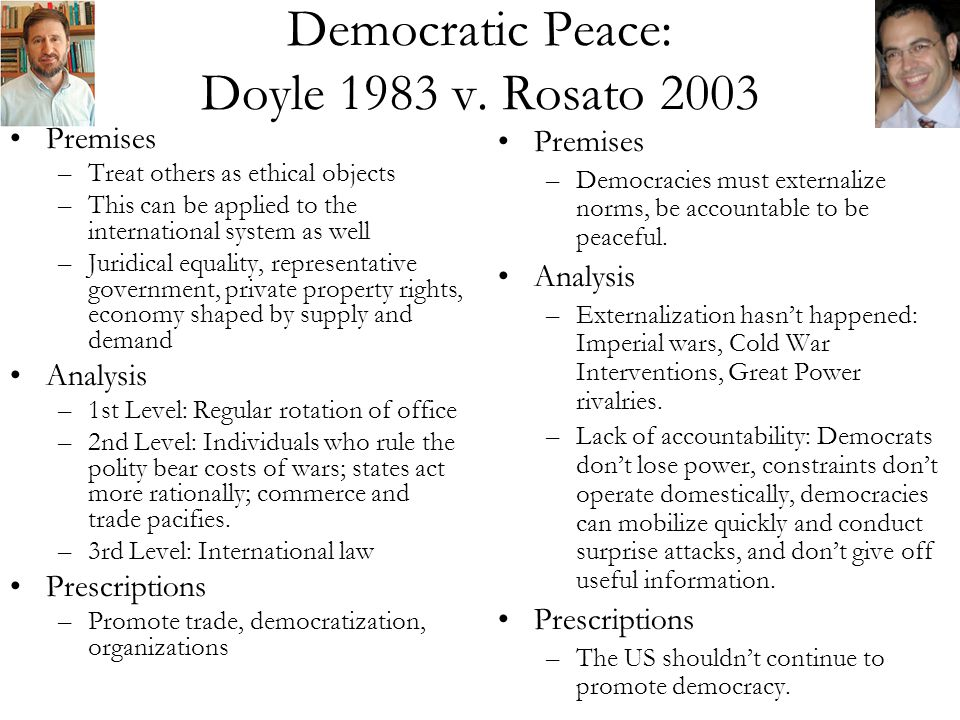 Democratic Peace: Doyle 1983 v.