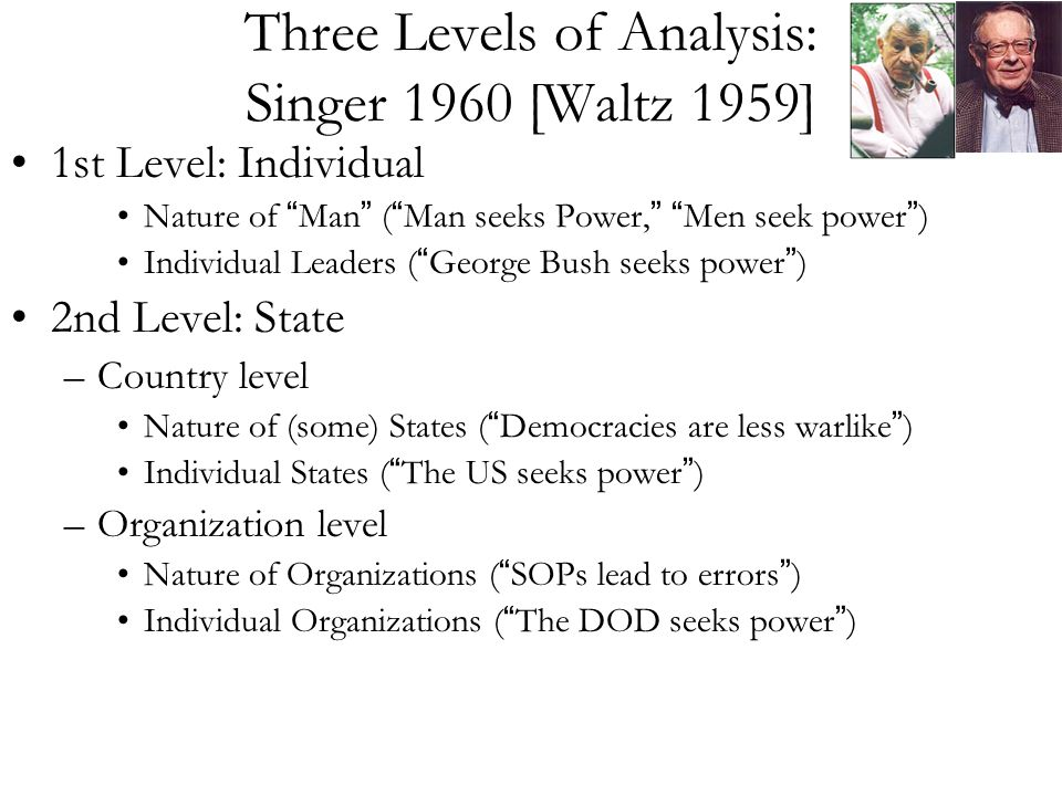 Three Levels of Analysis: Singer 1960 [Waltz 1959] 1st Level: Individual Nature of Man ( Man seeks Power, Men seek power ) Individual Leaders ( George Bush seeks power ) 2nd Level: State –Country level Nature of (some) States ( Democracies are less warlike ) Individual States ( The US seeks power ) –Organization level Nature of Organizations ( SOPs lead to errors ) Individual Organizations ( The DOD seeks power )