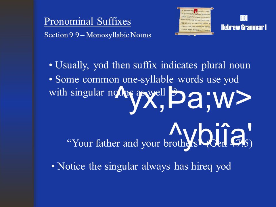 BBI Hebrew Grammar I Pronominal Suffixes Section 9.9 – Monosyllabic Nouns Usually, yod then suffix indicates plural noun ^yx,Þa;w> ^ybiîa Notice the singular always has hireq yod Some common one-syllable words use yod with singular nouns as well  Your father and your brothers (Gen 47:5)