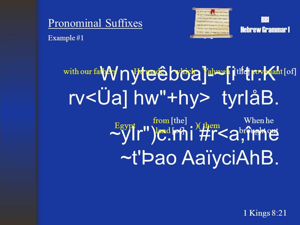 BBI Hebrew Grammar I Pronominal Suffixes Wnyteêboa]-~[i 'tr:K rv tyrIåB.