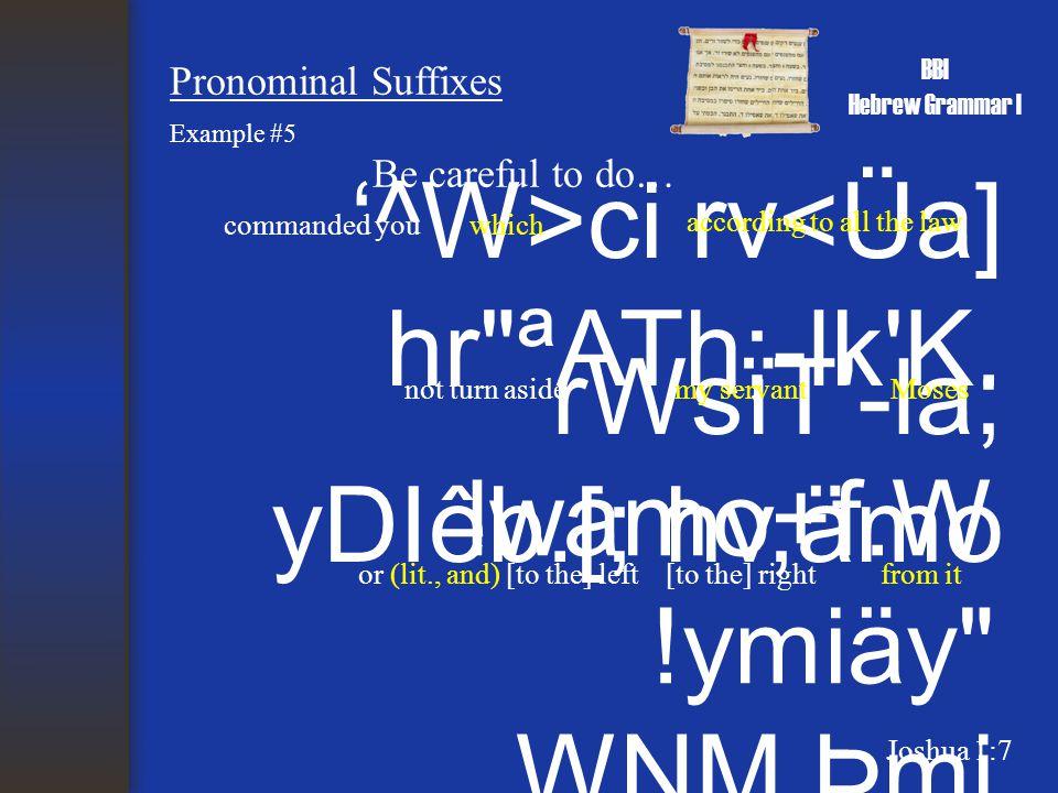 BBI Hebrew Grammar I Pronominal Suffixes '^W>ci rv<Üa] hr ªATh;-lk K.