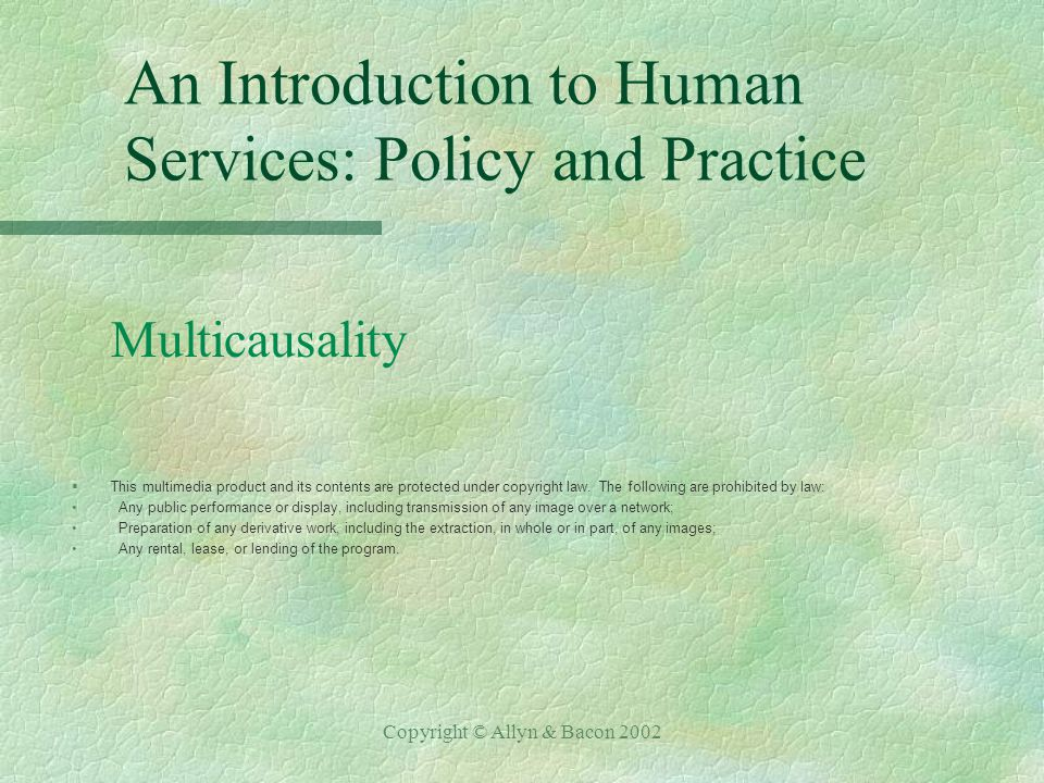 Copyright © Allyn & Bacon 2002 An Introduction to Human Services: Policy and Practice Multicausality §This multimedia product and its contents are protected under copyright law.