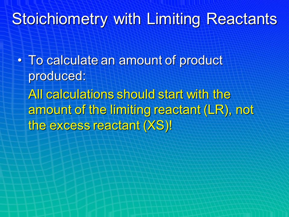 Identifying the Limiting Reactant 1.Convert grams of each reactant to moles if the problem has not already done so 2.Use molar ratios from the balance