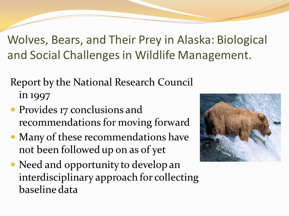 Wolves, Bears, and Their Prey in Alaska: Biological and Social Challenges in Wildlife Management. Report by the National Research Council in 1997 Prov