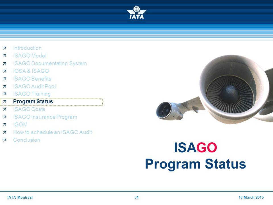 3416-March-2010IATA Montreal ISAGO Program Status  Introduction  ISAGO Model  ISAGO Documentation System  IOSA & ISAGO  ISAGO Benefits  ISAGO Au